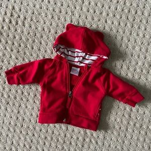 Hanna Andersson Baby Bright Basics Bear Hoodie RED